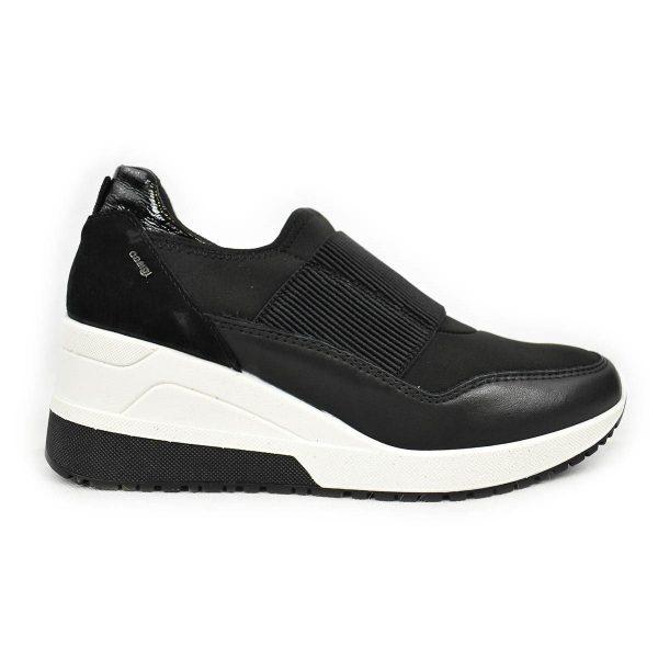 IGI&CO Sneakers nera in pelle e tessuto elastico con zeppa