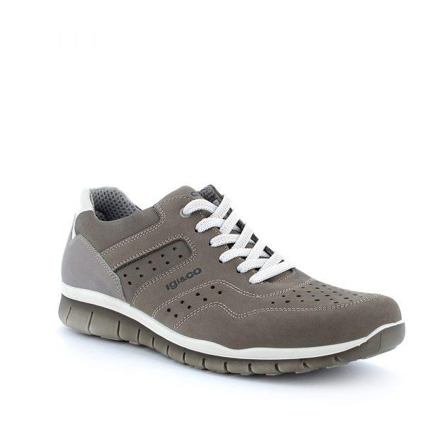 IGI&CO – Sneakers grige in Nabuk traforato con plantare memory foam