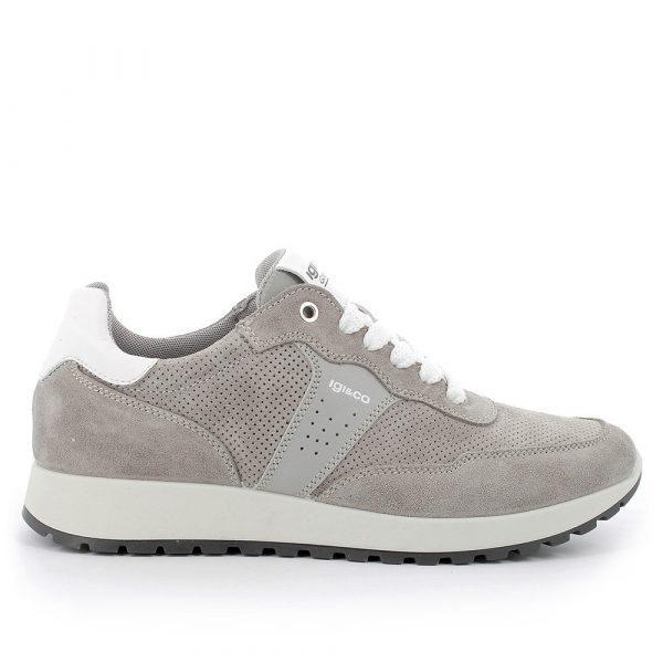 IGI&CO – Sneakers grigia in scamosciato traforato con plantare memory foam