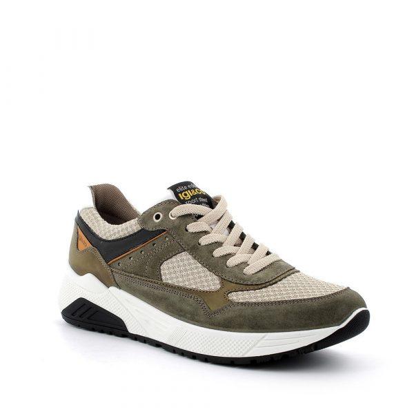IGI&CO – Sneakers verdi e beige in Scamosciato e tessuto con plantare memory foam