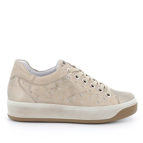 IGI&CO – Sneakers Beige con stelle traforate e suola a zeppa