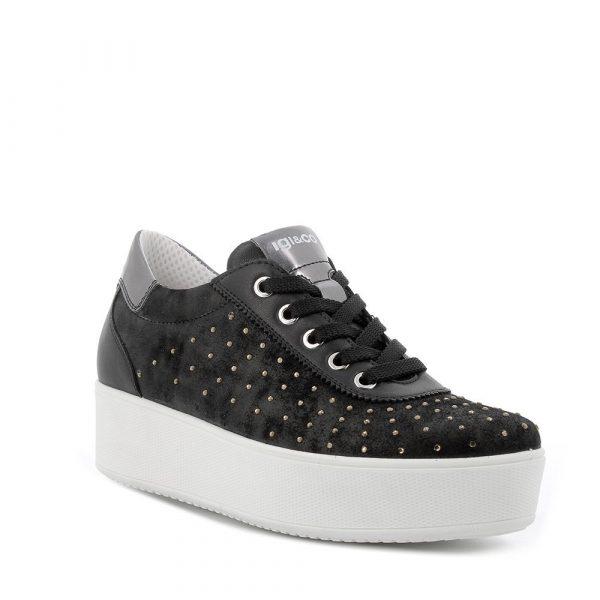 IGI&CO – Sneakers nera con suola a zeppa e strass decorativi
