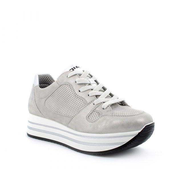 IGI&CO – Sneakers grigie laminato e traforate con suola a zeppa