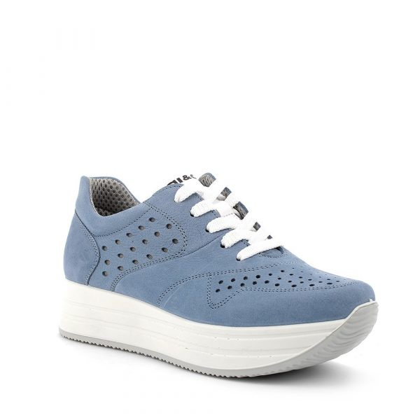 IGI&CO – Sneakers in nabuk azzurro avio con suola a zeppa