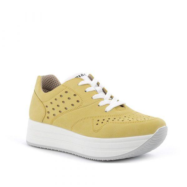 IGI&CO – Sneakers in nabuk giallo con suola a zeppa