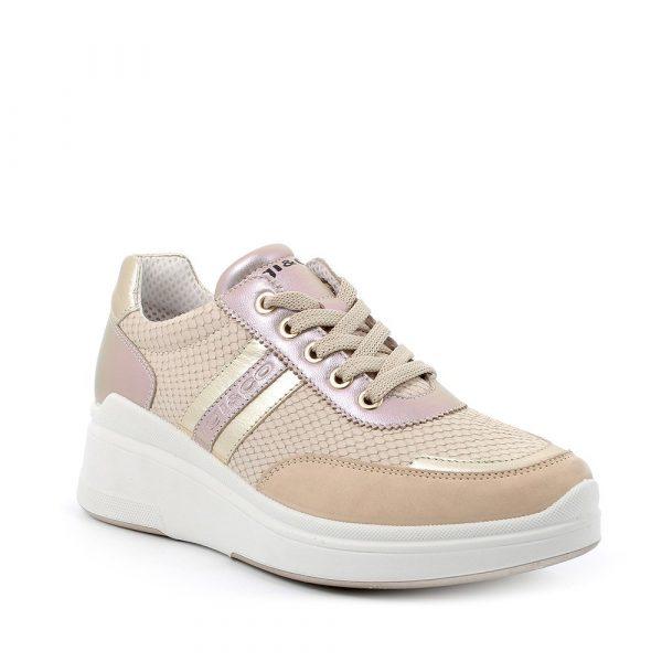 IGI&CO – Sneakers beige con zeppa inserti laminati e pelle stampata