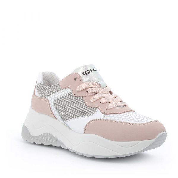 IGI&CO – Sneakers rosa con materiali combinati in pelle e tessuto