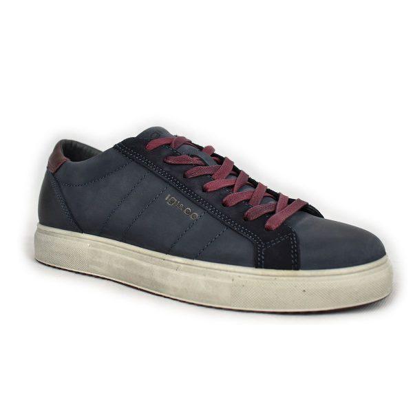 Sneakers in pelle nabuk blu e rosso con plantare in memory foam