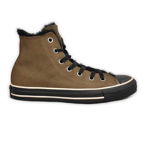 Converse – Sneakers in scamosciato Marrone e pelliccia nera