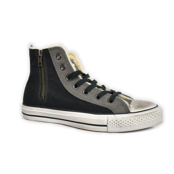 Converse – Sneakers alta blu con interno in lana e zip laterale