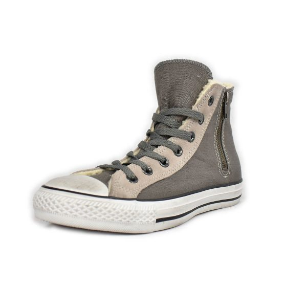 Converse – Sneakers alta grigia con interno in lana e zip laterale