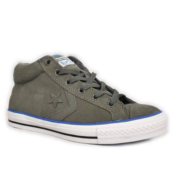 Converse – Sneakers Star Player LS in scamosciato grigio e dettagli blu