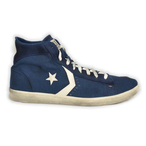 Converse – Sneakers alta blu con effetto sporco
