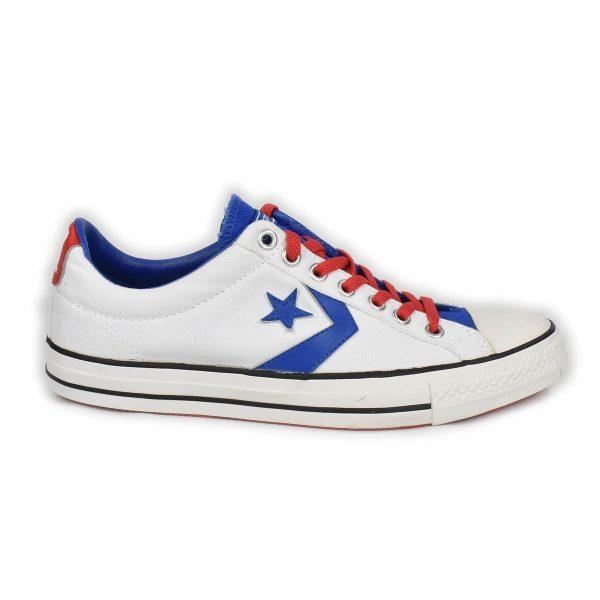 Converse – Sneakers bassa bianca con dettagli rossi e blu