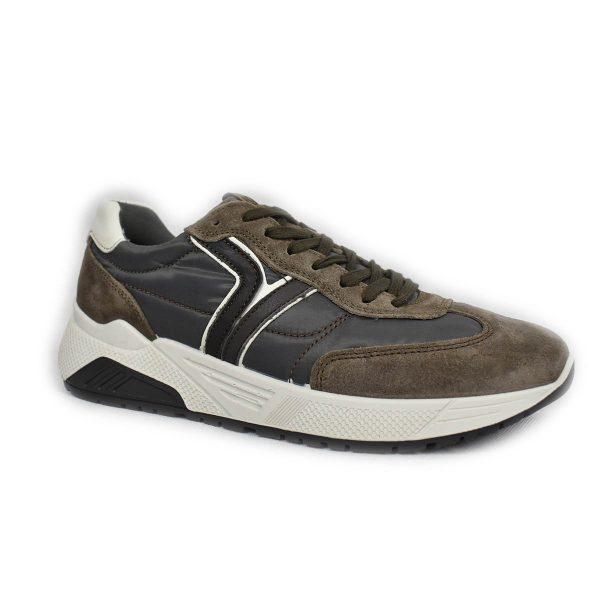 IGI&CO – Sneaker in scamosciato marrone e tessuto grigio con plantare memoryfoam