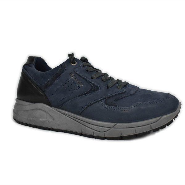 IGI&CO – Sneaker in nabuk blu con plantare in memoryfoam