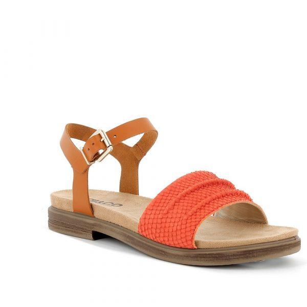 IGI&CO – Sandali con cintine cuoio e stampa effetto pelle di serpente in rosso