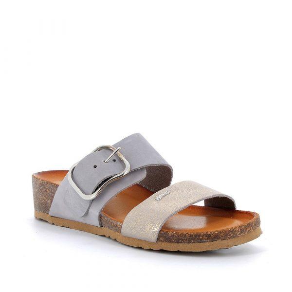 IGI&CO – Sandali grigi con fondo sughero e pelle laminata