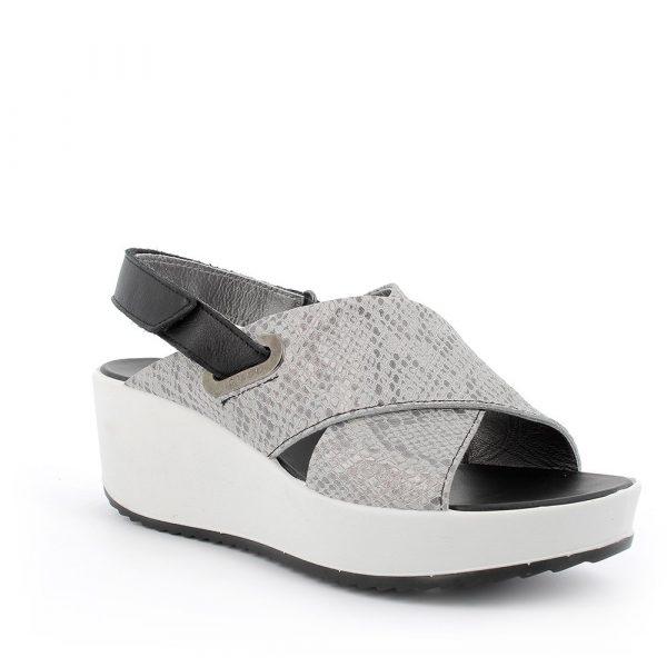 IGI&CO – Sandali neri e grigi con effetto pitonato