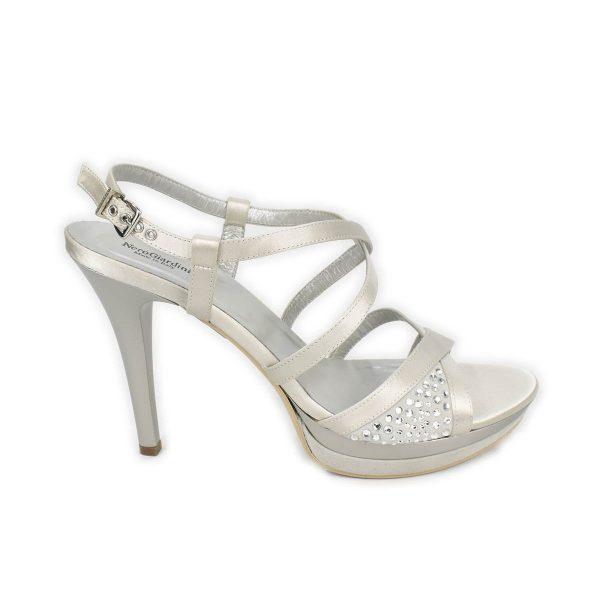 NeroGiardini – Sandali con tacco alto in pelle e raso argento, arricchiti da strass
