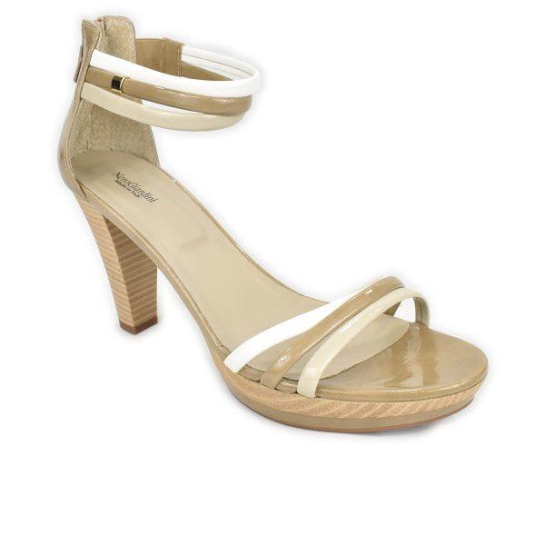NeroGiardini – Sandali con tacco alto in pelle beige, bianco e taupe