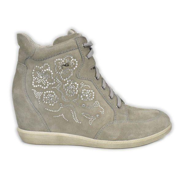 NeroGiardini – Sneakers con zeppa in pelle scamosciata grigia con strass