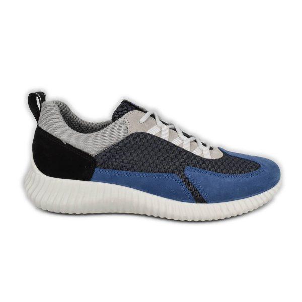 IGI&CO – Sneakers sportiva in tessuto tecnico e scamosciato in azzurro, grigio e nero