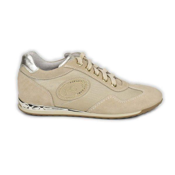 NeroGiardini – Sneakers in pelle scamosciata e tessuto beige
