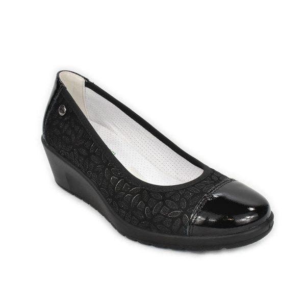 Enval Soft – Ballerine in pelle nera con zeppa comoda – plantare Memoryfoam