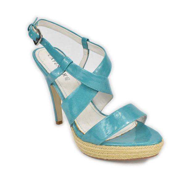 CafèNoir – Sandali azzurro lucido con tacco alto e plateau