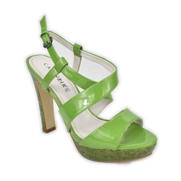 CafèNoir – Sandali verdi lucidi con tacco alto e plateau