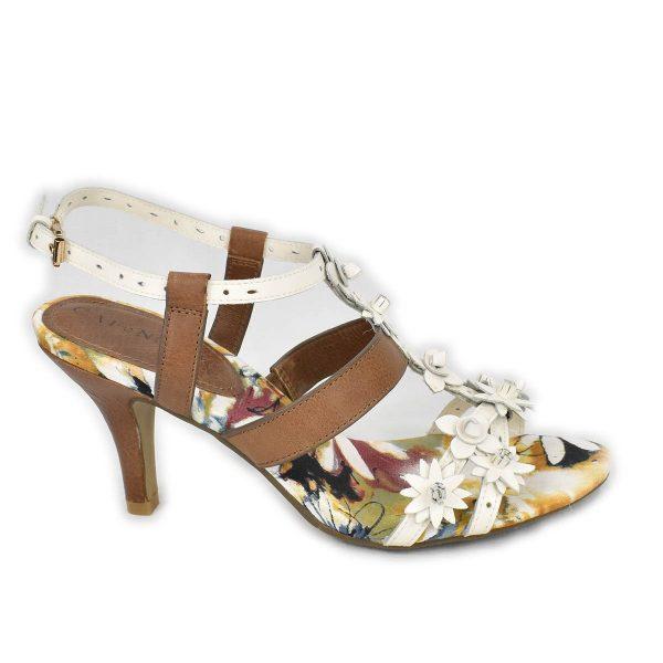 CafèNoir – Sandali bianchi e marroni con tacco medio e motivo a fiori