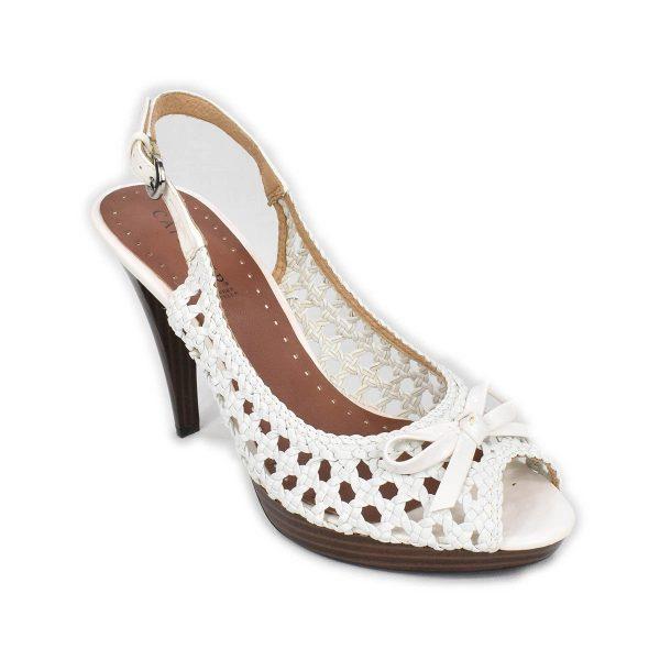 CafèNoir – Sandali bianchi intrecciati con tacco alto e plateau