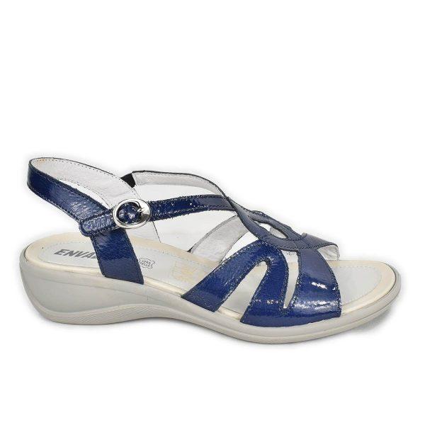 Enval Soft – Sandalo in pelle blu lucido con zeppa bassa