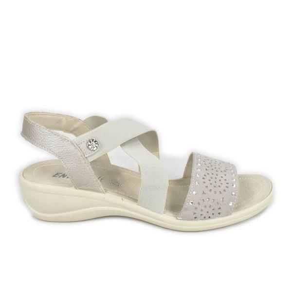 Enval Soft – Sandalo elasticizzato in scamosciato grigio con zeppa comoda