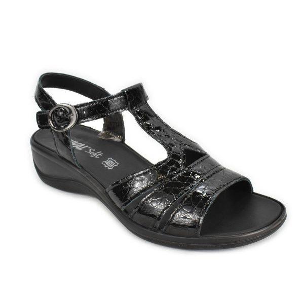 Enval Soft – Sandalo in pelle Nero lucido effetto cocco con zeppa comoda