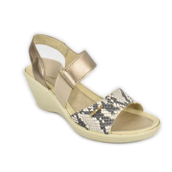 Enval Soft  – Sandalo in pelle bronzo e pitonato con zeppa comoda