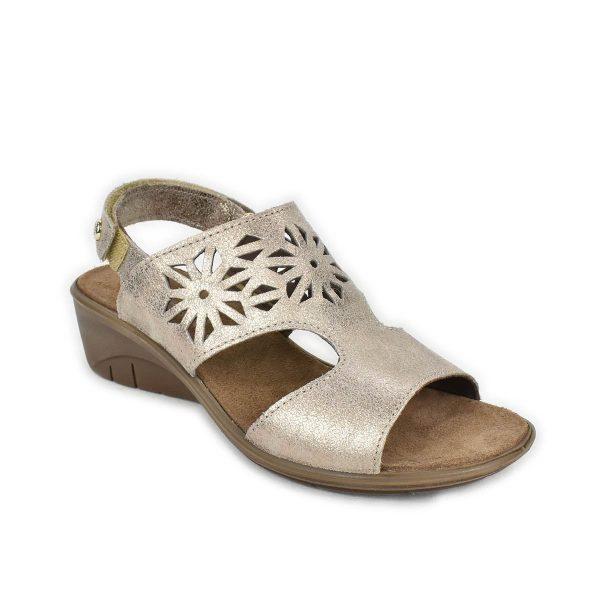 Enval Soft – Sandalo in pelle laminata bronzo con zeppa comoda e strappo