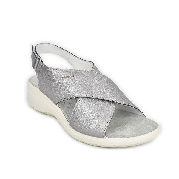 Enval Soft – Sandalo grigio in pelle laminata con zeppa comoda e strappo – 5286511