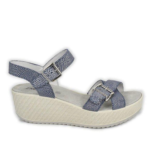 Enval Soft – Sandalo incrociato in pelle blu e argento con zeppa media