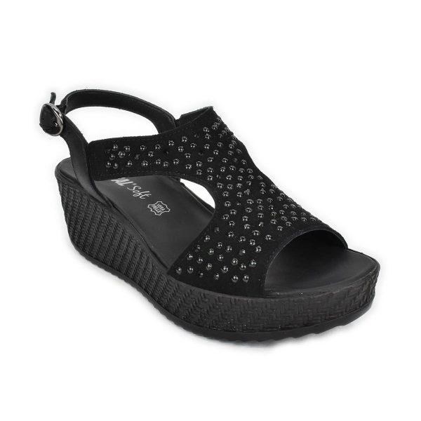 Enval Soft – Sandalo scamosciato nero con zeppa media con strass e borchiette