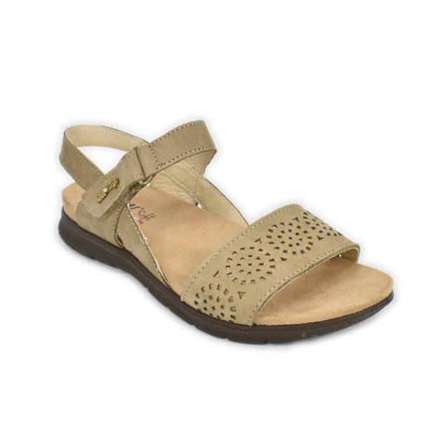 Enval Soft – Sandalo in Nabuk tortora con strappo