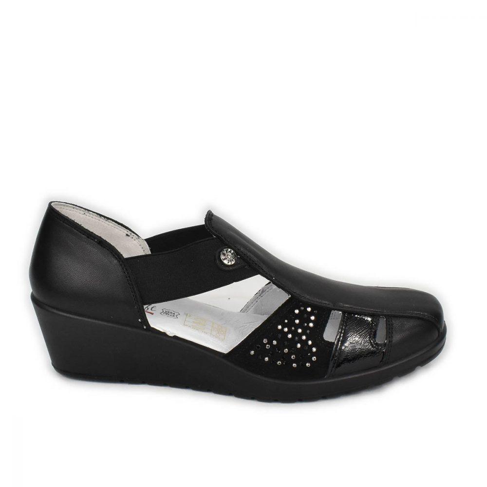Scarpa aperta comoda nera elasticizzata Enval Soft - 1256900