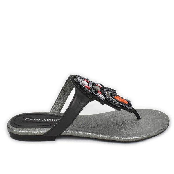CafèNoir – Sandalo a ciabatta infradito basso nero con pietre e strass