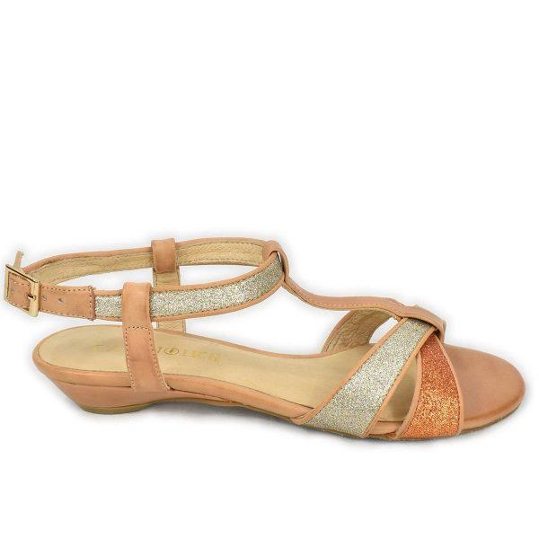 CafèNoir – Sandali bassi estivi beige argento e arancio glitterati