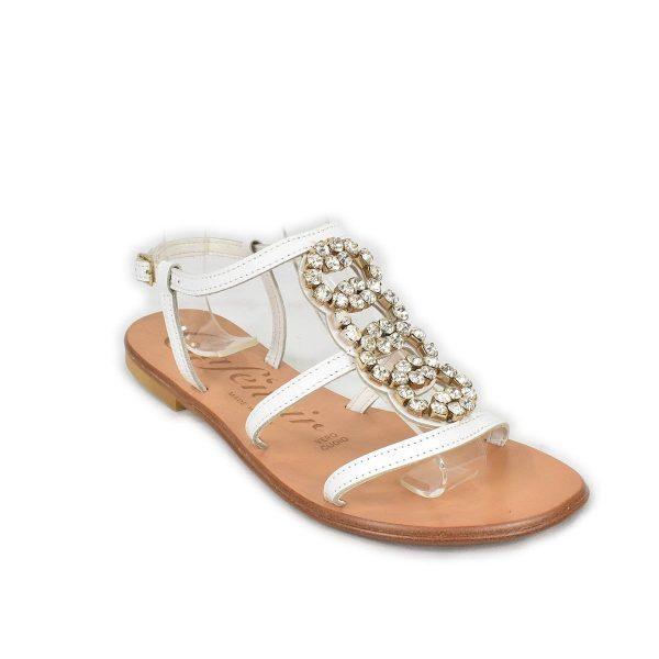 CafèNoir – Sandali bassi bianchi con strass