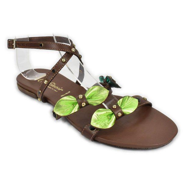 CafèNoir – Sandali bassi marroni verde e turchese con strass e borchie