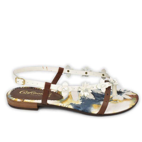 CafèNoir – Sandali infradito bassi bianchi e marrone con motivo floreale