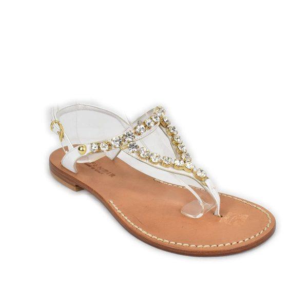 CafèNoir – Sandali infradito bassi bianchi con strass