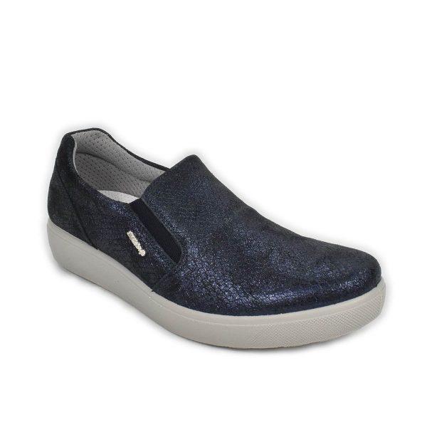 Enval Soft  – Slip on in pelle blu con plantare memoryfoam